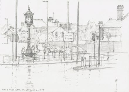 Pencil on cartridge paper 21 x 29cm (A4 sketchpad). This clock tower had just undergone full restoration and re-installation very close to its original location adjacent to the Kings Head pub on Hagley Road. The unveiling ceremony, having been rained off, was continued in the welcome shelter of the pub from where this sketch was taken. Drawing by Mike Fitchett, Smith of Derby, 24 October 2015
