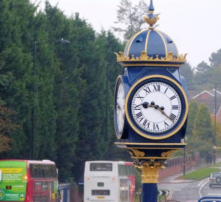 Full workshop conservation and refurbishment of historic pillar clock for Birmingham City Council/Sandwell MBC.    Opening of the Kings Head Pillar Clock, 10.00am on Saturday 24th October 2015 at its new home on the corner of Adkins Lane and Bearwood Road, Bearwood B67 5DP. Councillor Barbara Price, Mayor of Sandwell; Councillor Steve Eling,   Deputy Leader, Sandwell Council. After 44 years away from its original location outside the Kings Head pub the newly renovated iconic 7m high pillar clock returns to Bearwood, to within yards of where it was first erected in 1905 adjacent to the rebuilt Kings Head Public house.
