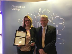 Jane Arnold, Director Smith of Derby receiving 'Employer of the Year' by Chesterfield College Group & Learning Unlimited