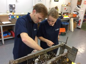 Nick and Claire inspect a turret clock