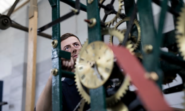 Apprentice Smith of Derby Clockmaker Tom Ratcliffe. Photo credit Fabio de Paola for the Observer