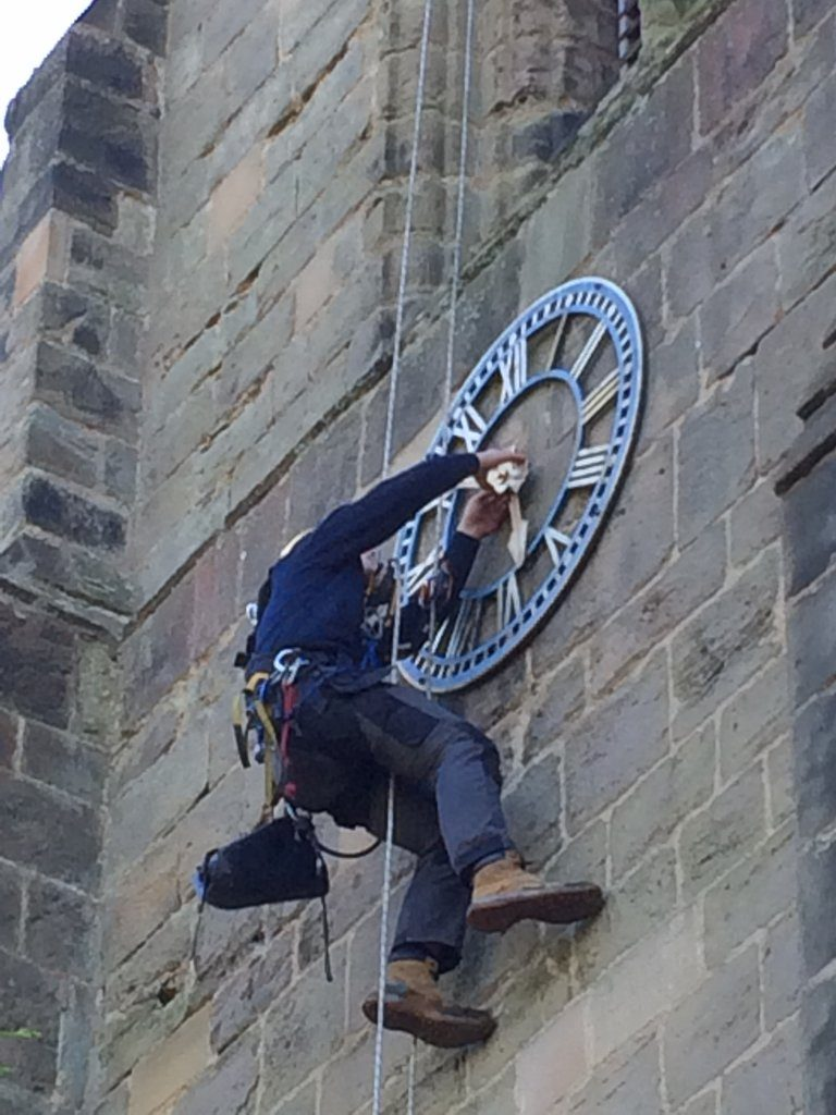 Sam S looking forward to a rise (apprehensively), his first dial approach using rope tackle. Ibstock Church, 20 Oct 17.