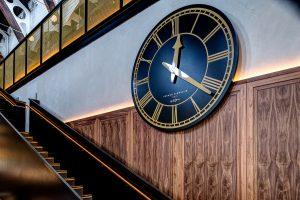 Interior clock at the German Gymnasium Restaurant, London N1C 4TB